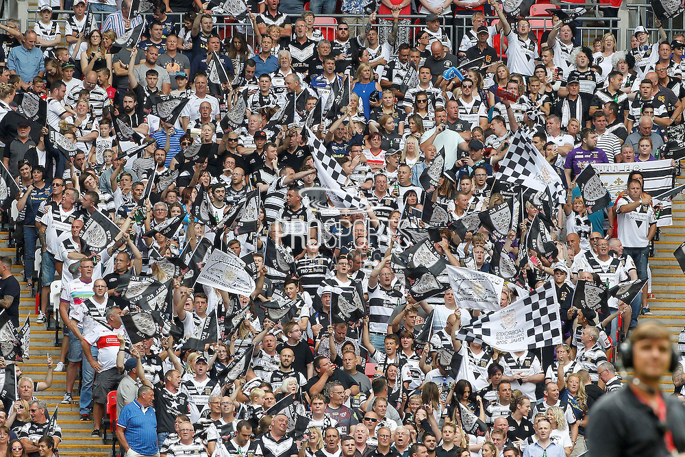 Hull fans during the Challenge Cup Final 2016 match between Warrington Wolves and Hull FC at Wembley Stadium, London, England on 27 August 2016. Photo by Craig Galloway.