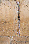 Israel, Jerusalem, Old City, Wailing Wall Closeup of the notes left in the cracks for God to read