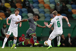 December 13, 2018 - Lisbon, Portugal - Sporting's forward Jovane Cabral from Cabo Verde vies with Vorskla's midfielder Oleksandr Skliar (R )  during the UEFA Europa League Group E football match Sporting CP vs FC Vorskla Poltava at Alvalade stadium in Lisbon, Portugal on December 13, 2018 (Credit Image: © Pedro Fiuza/ZUMA Wire)