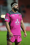 Gloucester hooker  James Hanson (2) waiting to see of they have scored a try during the European Rugby Challenge Cup match between Gloucester Rugby and SU Agen at the Kingsholm Stadium, Gloucester, United Kingdom on 19 October 2017. Photo by Gary Learmonth.