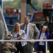 5/7/11 -- BATH, Maine. U.S. Navy Destroyer Michael Murphy was christened during ceremonies on Saturday, May 7, 2011 at Bath Iron Works. The 509 foot ship was named for Lieutenant Michael Murphy, whose bravery under fire in Afghanistan in June, 2005 led to the posthumous award of the Medal of Honor..The ceremony included speeches by Maine Governor Paul LePage, Chief of Naval Operations - Admiral Gary Roughead, Senator Olympia Snowe, Representatives Mike Michaud and Chellie Pingree as well as ship sponsor, Maureen and Dan Murphy, parents of Lieutenant Murphy. Photo by Roger S. Duncan.