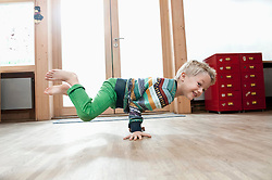 Young boy breakdancing
