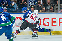 KELOWNA, BC - SEPTEMBER 29: Jason Demers #55 of the Arizona Coyotes checks Elias Pettersson #40 of the Vancouver Canucks during first period at Prospera Place on September 29, 2018 in Kelowna, Canada. (Photo by Marissa Baecker/NHLI via Getty Images)  *** Local Caption *** Jason Demers;Elias Pettersson