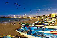 Fishing boats on the beach, Mazatlan, Sinaloa, Mexico