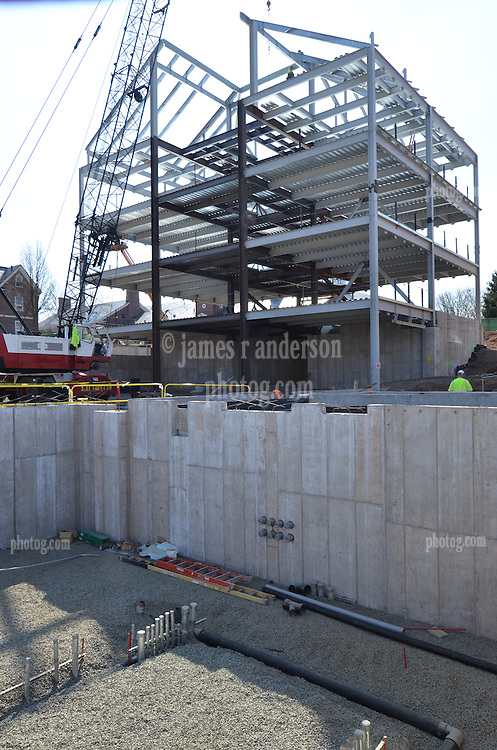 East Elevation and Mechanical Room foreground. Central Connecticut State University. New Academic Building. Project No: BI-RC-324. Architect: Burt Hill Kosar Rittelmann Associates. Contractor: Gilbane, Inc.