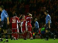 Photo: Andrew Unwin.<br />Middlesbrough v Dnipro. UEFA Cup. 03/11/2005.<br />Middlesbrough celebrate Mark Viduka's goal.