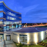 Panorama photo of the Teva Pharmaceuticals building in Leawood, Kansas, taken at dusk for Hoefer Wysocki Architects.
