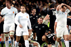 © Andrew Fosker / Seconds Left Images 2011 -  New Zealand's Stephen Donald (centre) celebrates victory at the final whistle - France v New Zealand - Rugby World Cup 2011 - Final - Eden Park - Auckland - New Zealand - 23/10/2011 -  All rights reserved..