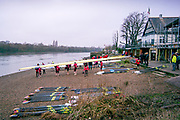 Chiswick, Greater London, 25th January 2020, Crews boating to compete in the Quintin Head Race, Hammersmith to Chiswick, River Thames,  [Mandatory Credit: Peter SPURRIER/Intersport Images],