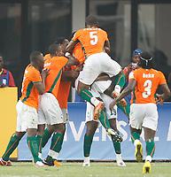 Photo: Steve Bond/Richard Lane Photography.<br />Ivory Coast v Benin. Africa Cup of Nations. 25/01/2008. Yaya Toure celebrates goal no2 (no 19)
