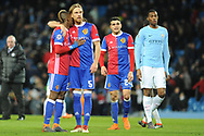 b5\ and FC Basel Midfielder, Geoffroy Serey Die (20) at the final whistle during the Champions League match between Manchester City and FC Basel at the Etihad Stadium, Manchester, England on 7 March 2018. Picture by Mark Pollitt.