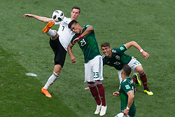 June 17, 2018 - Moscow, Russia - Julian Draxler of Germany and Jesus Gallardo, Javier Hernandez, Hector Moreno of Mexico during the Russia 2018 World Cup Group F football match between Germany and Mexico at the Luzhniki Stadium in Moscow on June 17, 2018. (Credit Image: © Foto Olimpik/NurPhoto via ZUMA Press)