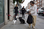A lady pet owners dog makes friends with another animal outside shops in Marylebone, on 16th April 2018, in London, England.