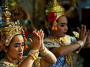 31 DECEMBER 2017 - BANGKOK, THAILAND: Dancers perform for people who donate money to make merit at Erawan Shrine in central Bangkok. Many Thais go to temples and shrines to pray and meditate during New Year's Eve and New Year's Day.    PHOTO BY JACK KURTZ