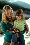 A mother and daughter examine a sea star at a Crescent City aquarium, California