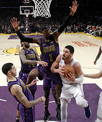 January 4, 2019 - Los Angeles, California, U.S - New York Knicks' Enes Kanter (00) goes to basket while defended by Los Angeles LakersÃ• Kentavious Caldwell-Pope (1) during an NBA basketball game between Los Angeles Lakers and New York Knicks on Friday, Jan. 4, 2019, in Los Angeles. (Credit Image: © Ringo Chiu/ZUMA Wire)