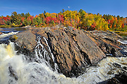 Aux Sables River and autumn colors near Massey <br /> Chutes Provincial Park<br /> Ontario<br /> Canada