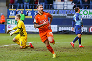 Goal 2-0 Luton Town midfielder George Moncur scores a goal and celebrates during the EFL Sky Bet League 1 match between Luton Town and Wycombe Wanderers at Kenilworth Road, Luton, England on 9 February 2019.