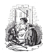 A Miserable Plight': Cartoon commenting on the barbarous practice of separating husbands and wives and placing them in males and female wards in the Workhouse. From Thomas Hood 'The Comic Magazine', London, 1832.