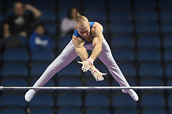 March 2, 2019 - Greensboro, North Carolina, US - PETRO PAKHNIUK from the Ukraine competes on the high bar at the Greensboro Coliseum in Greensboro, North Carolina. (Credit Image: © Amy Sanderson/ZUMA Wire)