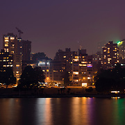 Vancouver, BC, Canada - July 5, 2015 - Smoke from recent forrest fires in British Columbia fill the night air in downtown Vancouver.<br /> <br /> Photo: © Rod Mountain<br /> <br /> http://www.rodmountain.com