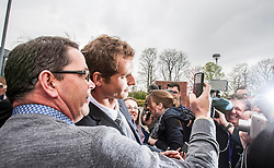 Andy Murray leaving after receiving the Freedom of Stirling from Stirling Council, who have recognised the Wimbledon champion's sporting achievements at a special council meeting at Dunblane High School.<br /> © Michael Schofield.
