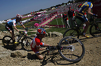 OL 2012 London<br /> Terrengsykling Mountain Bike<br /> 11.08.20123<br /> Foto: imago/Digitalsport<br /> NORWAY ONLY<br /> <br /> Gunn-Rita Dahle Flesjå of Norway falls down during women s Cross-country competition of Cycling Mountain Bike event, at London 2012 Olympic Games in London, Britain, on August 11, 2012.
