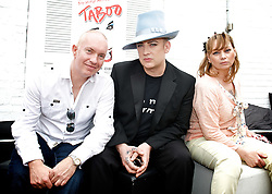 Boy George <br /> <br /> announcing the come back of the Boy George musical 'Taboo' at Brixton Club House in September 2012 <br /> <br /> press conference <br /> 26th June 2012 <br /> <br /> <br /> Kevan Frost <br /> Boy George<br /> Christine Bateman<br /> <br /> Photograph by Elliott Franks