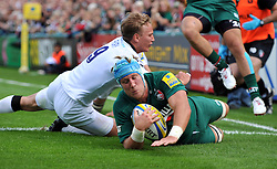 Leicester Tigers number 8 Jordan Crane scores the opening try for his team - Photo mandatory by-line: Patrick Khachfe/JMP - Tel: Mobile: 07966 386802 - 21/09/2013 - SPORT - RUGBY UNION - Welford Road Stadium - Leicester Tigers v Newcastle Falcons - Aviva Premiership.