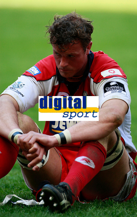 Photo: Richard Lane/Richard Lane Photography. Gloucester Rugby v Cardiff Blues. Anglo Welsh EDF Energy Cup Final. 18/04/2009. Gloucester's Alex Brown shows his dejection.