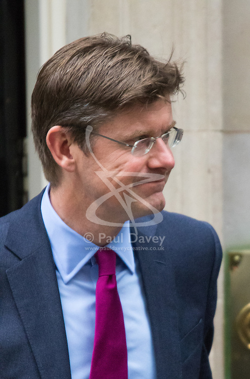 Downing Street, London, September 8th 2015.  Greg Clark, Secretary of State for Communities and Local Government leaves 10 Downing Street following the first cabinet meeting after the summer holidays, prior to a debate in the House of Commons on the refugee crisis.