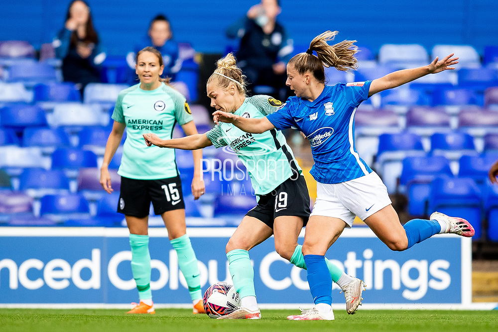 Brighton & Hove Albion midfielder Emily Simpkins (19) battles for possession during the FA Women's Super League match between Birmingham City Women and Brighton and Hove Albion Women at St Andrews, Birmingham United Kingdom on 12 September 2021.
