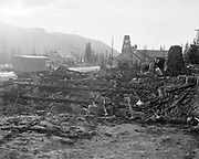 Y-501108-04.  Battle Axe Inn ruins after fire, Government Camp, Mt. Hood, November 8, 1950. (The fire that destroyed the inn happened the day before, November 7, 1950.)
