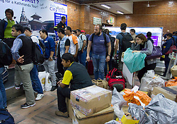 28th April 2015: A M7.9 earthquake struck on Saturday 25th April, causing widespread devastation across the country creating an international humanitarian emergency. Recent estimates state that the death toll to be 4000  and rising, affecting up to 8 million  people (UN).<br /> At the small international airport humanitarian traffic competes with domestic and international traffic, creating scenes of mass confusion, simply overwhelming the airport. © Licensed to London News Pictures. 28/04/2015. Photo credit Sam Spickett/LNP