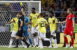 July 3, 2018 - Moscou, Rússia - MOSCOU, MO - 03.07.2018: COLOMBIA VS ENGLAND - Radamel FALCAO of Colombia takes a yellow card for a complaint from referee Mark Geiger (USA) during the match between Colombia and England, valid for the round of 16 World Cup 2018 held at Spartak Stadium in Moscow, Russia. (Credit Image: © Rodolfo Buhrer/Fotoarena via ZUMA Press)