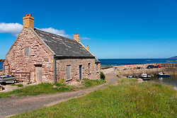 View of  cottages at harbour at Cove near Cockburnspath in Berwickshire , Scottish Borders, Scotland ,UK - Editorial Use Only _
