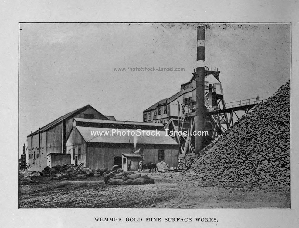 Wemmer Gold Mine Surface works from the book ' Boer and Britisher in South Africa; a history of the Boer-British war and the wars for United South Africa, together with biographies of the great men who made the history of South Africa ' By Neville, John Ormond Published by Thompson & Thomas, Chicago, USA in 1900