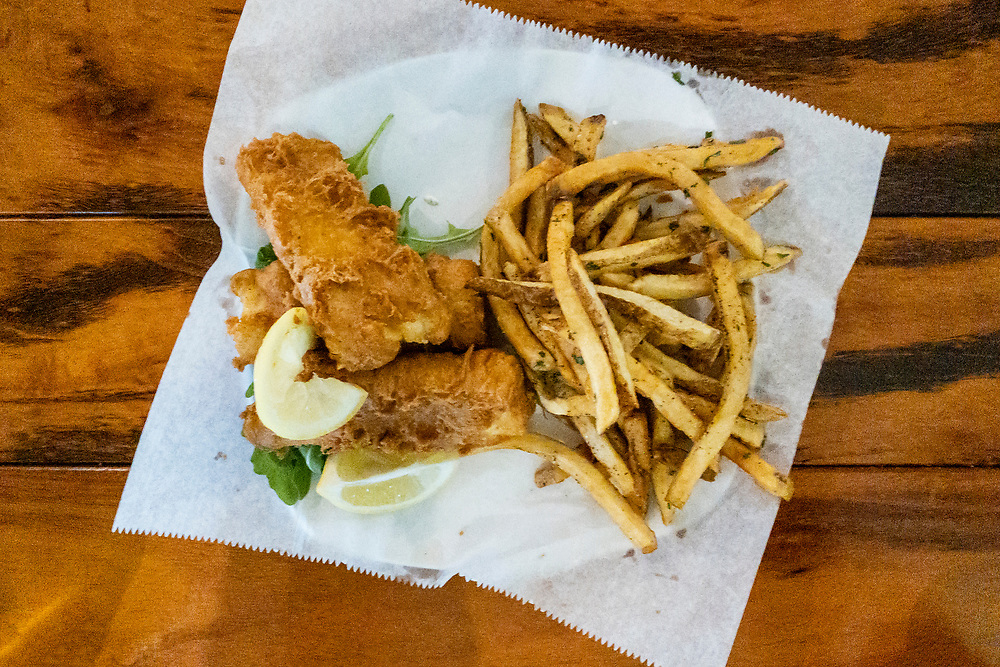 Delicious pan fried catfish and fries at the Akademia Brewing Company in Athens, Georgia on Wednesday, July 14, 2021. Copyright 2021 Jason Barnette
