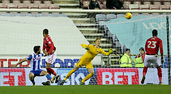 Wigan Athletic's Will Grigg makes an attempt at goal