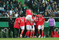 February 3, 2019 - Lisbon, Portugal - Benfica's Suisse forward Haris Seferovic celebrates with teammates after scoring during the Portuguese League football match Sporting CP vs SL Benfica at Alvalade stadium in Lisbon, Portugal on February 3, 2019. (Credit Image: © Pedro Fiuza/ZUMA Wire)