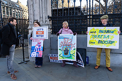 Bild journalist Philip Fabian, left, speaks with a small group of anti-EU protesters, including German national Karin, 50,, second from left demanding an immediate withdrawal on WTO terms outside the Houses of Parliament. London, January 14 2019.