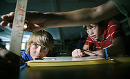 Working on angles of the sun in a science Class. (Photo/John Froschauer).