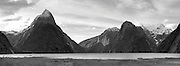 Black & white panoramic View of Milford Sound (Piopiotahi), Stirling Falls and Mount Pembroke, Fiordland National Park, New Zealand