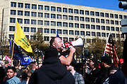 WASHINGTON, D.C: NOVEMBER 14, 2020-  Media Personality, Alex Jones as well as thousands of supporters of U.S. President Donald Trump attend the Million Maga March aka March for Trump held at Freedom Plaza and along the streets of Washington, D.C. in attempts of securing the win for four more years of President Trump on November 14, 2020 in Washington, D.C. Supporters march through the streets of D.C. from Freedom Plaza to the Supreme Court Building for a rally.    Terrence Jennings/Redux