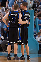 06 February 2008: Duke Blue Devils guard Greg Paulus (3) and guard Jon Scheyer (30) during a 89-78 win over the North Carolina Tar Heels at the Dean Smith Center in Chapel Hill, NC.