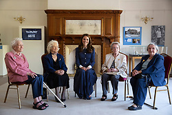 The Duchess of Cambridge (centre) with Bletchley veterans (left to right) Elizabeth Diacon, Georgina Rose, Audrey Mather and Rena Stewart during a visit to Bletchley Park to view a special D-Day exhibition in the newly restored Teleprinter Building.