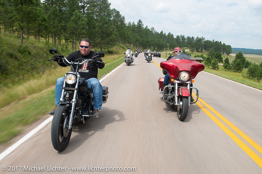 Roadside Marty and Melissa Shoemaker on the Aidan's Ride to raise money for the Aiden Jack Seeger nonprofit foundation to help raise awareness and find a cure for ALD (Adrenoleukodystrophy) during the annual Sturgis Black Hills Motorcycle Rally. Riding between Nemo and Rapid City, SD, USA. Tuesday August 8, 2017. Photography ©2017 Michael Lichter.