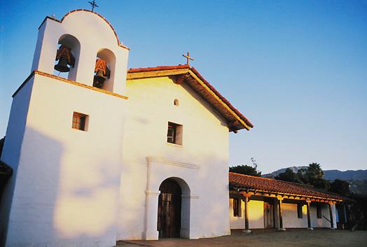 View of Santa Barbara Presidio, Spanish Garrison in California.