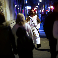 """Michael Grant, 28, """"Philly Jesus,"""" walks the center city streets in Philadelphia, PA.  Nearly everyday for the last 8 months, Grant has dressed as Jesus Christ, and walked the streets of Philadelphia to share the Christian gospel by example.  He quickly acquired the nickname of """"Philly Jesus,"""" which he has gone by ever since."""
