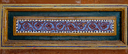 A detailed painted door panel in the Bahia Palace in Marrakech, Morocco, North Africa<br /> <br /> <br /> (c) Andrew Wilson | Edinburgh Elite media